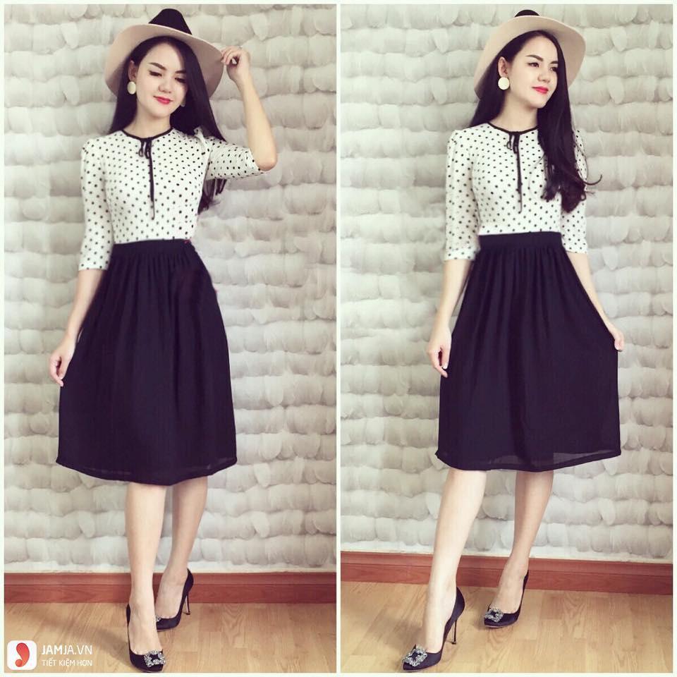 Chân váy xòe màu đen mặc với áo gì cho đẹp?