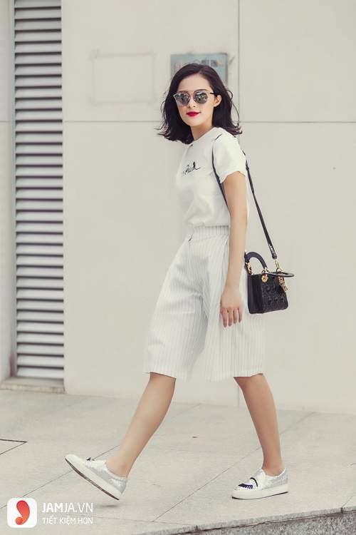 Với những bạn có thân hình nhỏ nhắn cùng chiều cao khiêm tốn thì nên chọn quần culottes cạp cao và sáng màu
