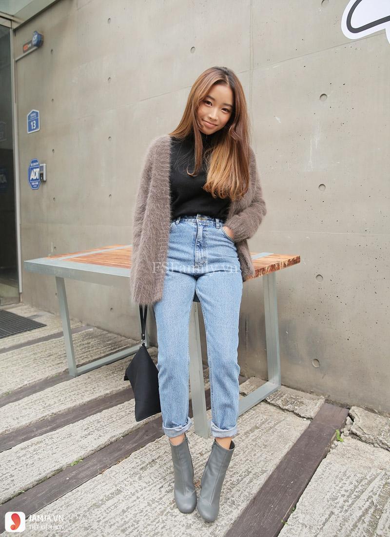 Quần jeans bó kết hợp cùng đôi bốt ngắn cổ 1