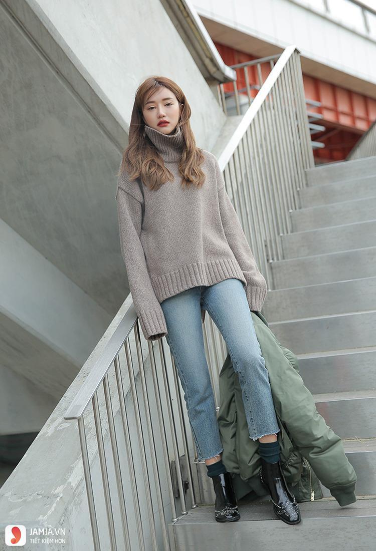 Quần jeans bó kết hợp cùng đôi bốt ngắn cổ 2