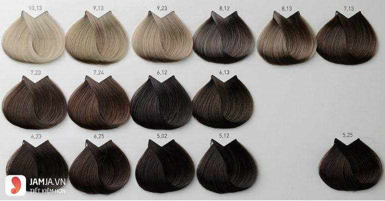 bảng nhuộm tóc màu nâu