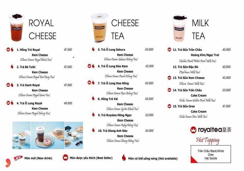menu royaltea