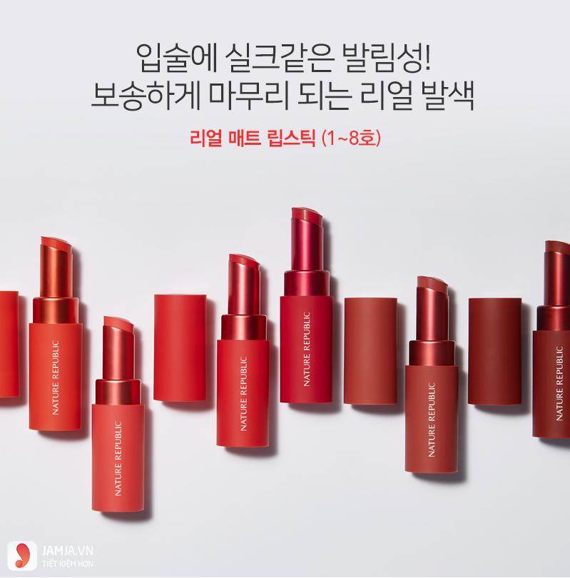 Bảng màu sonNature Republic Real Matte Lipstick 1