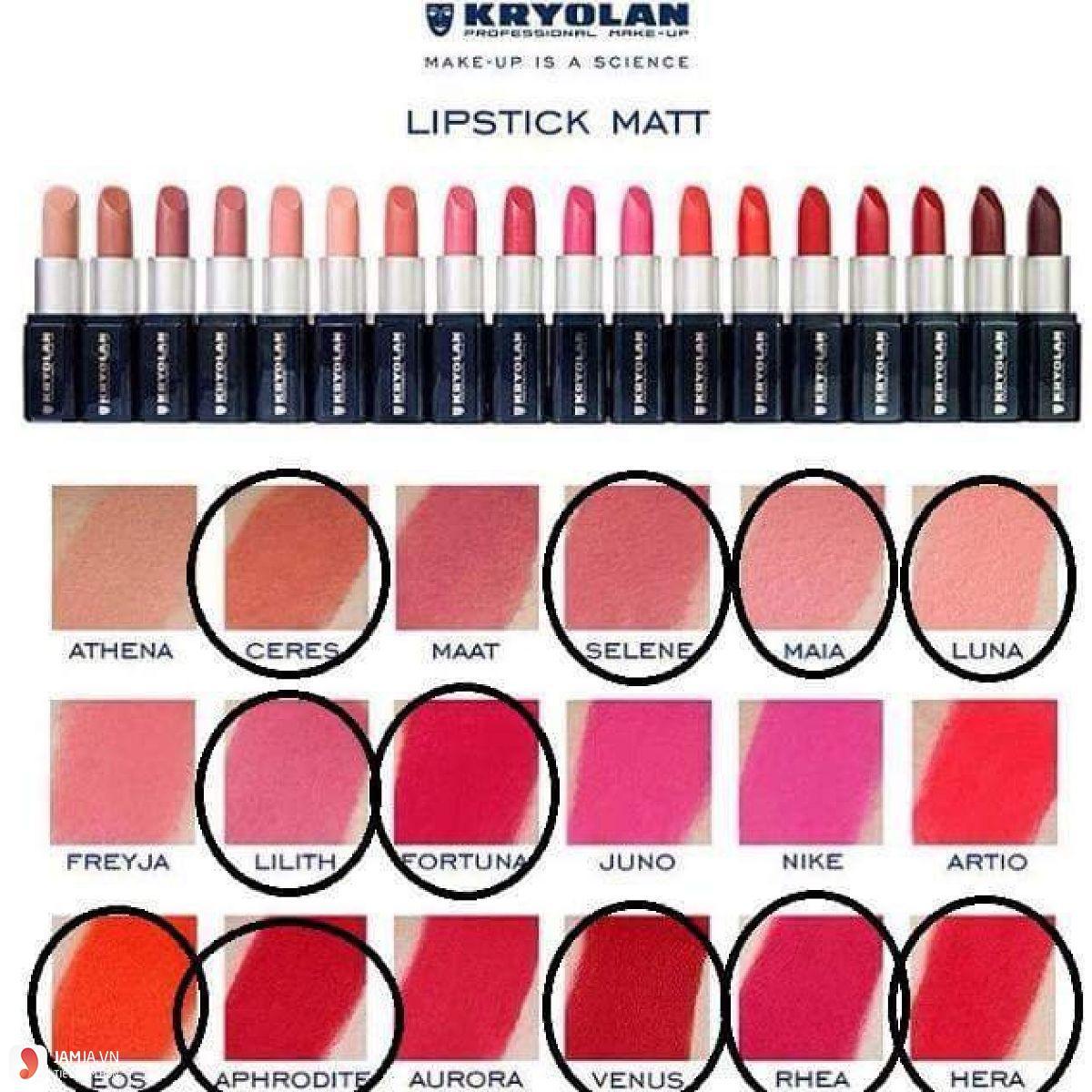 Bảng màu son Kryolan Lipstick Matt Freyja 1