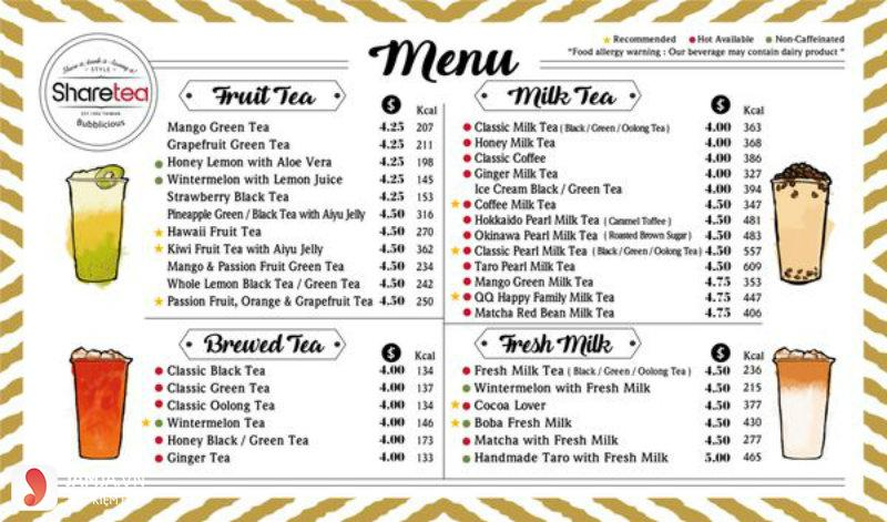 menu của quán trà sữa sharetea