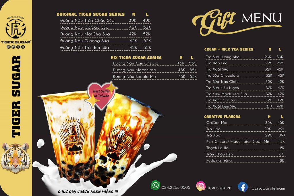 Menu Tiger Sugar