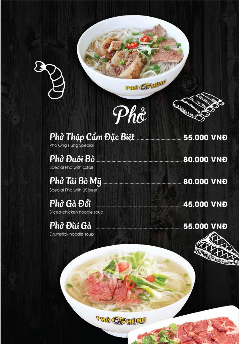 Phở Ông Hùng menu phở